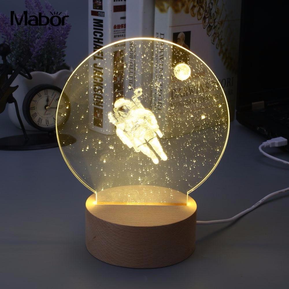 Vivid Creative Modeling Lamp LED Light Night Light 3D Astronaut Style Warm White Ornament Bedroom Gadget Gift Decorative декоративні лампи із дерева у стилі бра