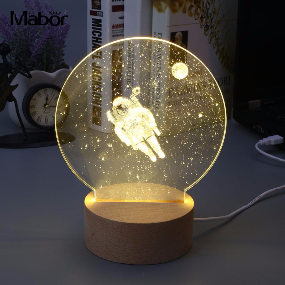 Vivid Creative Modeling Lamp LED Light Night Light 3D Astronaut Style Warm White Ornament Bedroom Gadget Gift Decorative j13009l j13009 to 247 12a 400v rohs original 10pcs lot free shipping electronics composition kit