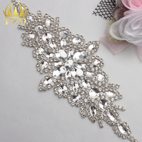 5pieces Wholesale Hot Fix Sew On Sliver Crystal Beaded Bridal Rhinestone Applique For Wedding Dresses