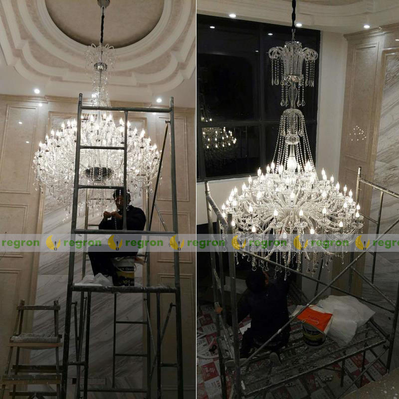 Large 30-light Church Chandelier led Candelabro crystal pendant hotel - Indoor Lighting - Photo 5