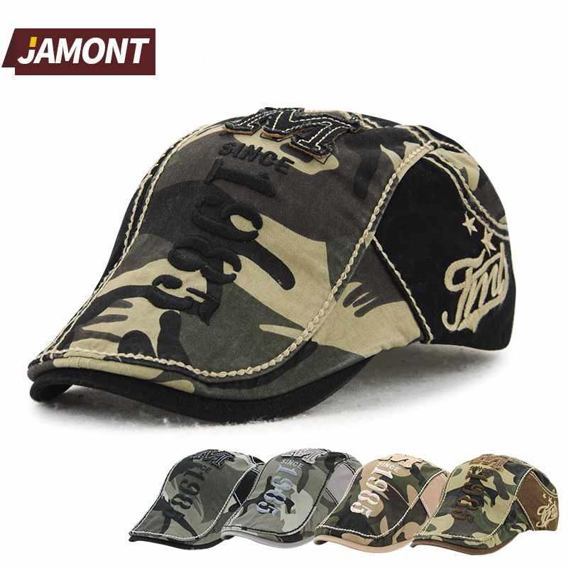 Boina de algodón de camuflaje JAMONT boina militar sombrero de sol  Casquette Homme Gorras Planas para efda0648e25