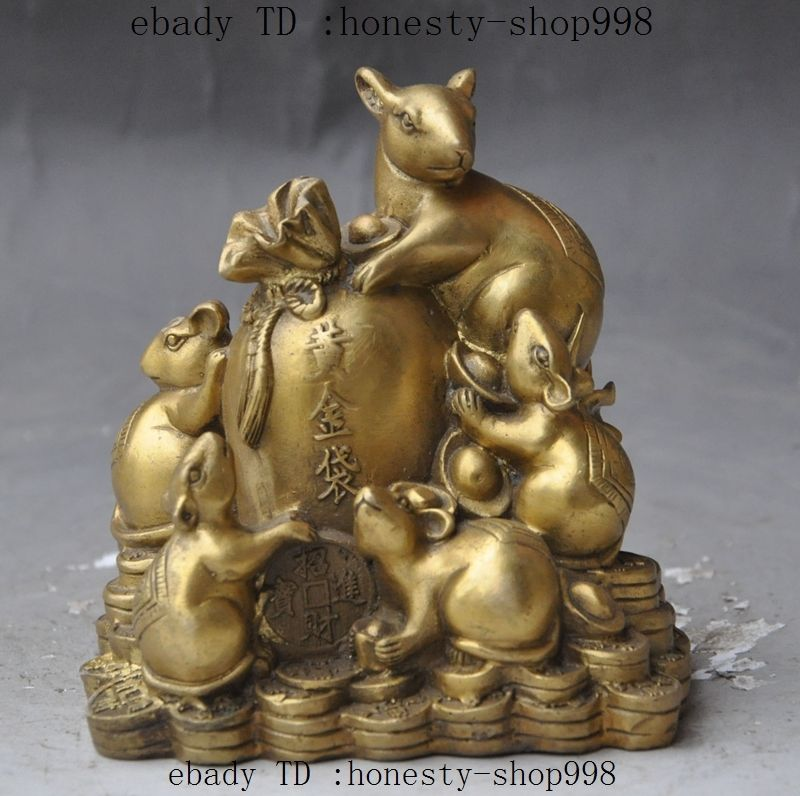 Fengshui chinois richesse en laiton Yuanbao MoneyBag Animal zodiaque 5 souris Rat StatueFengshui chinois richesse en laiton Yuanbao MoneyBag Animal zodiaque 5 souris Rat Statue