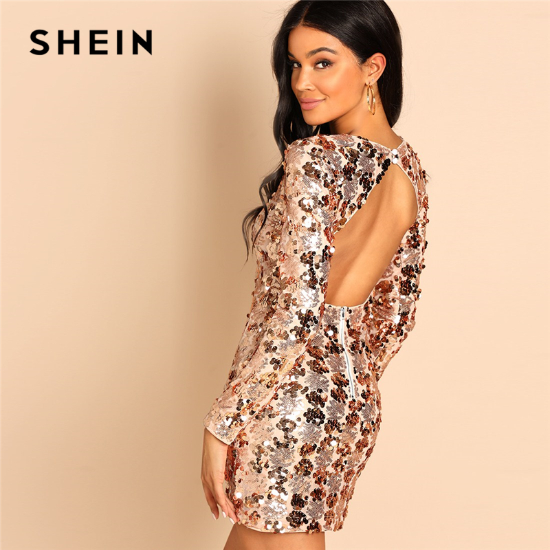SHEIN Gold Party Sexy Backless Sequin Round Neck Long Sleeve Bodycon Dress Autumn Club Slim Fit Women Short Dresses