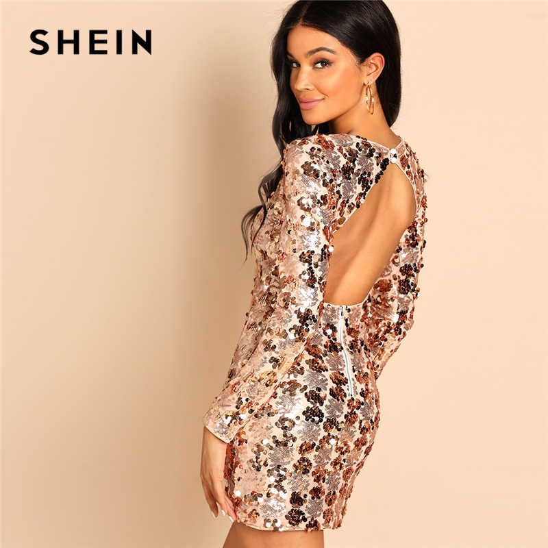 f923e3aacc SHEIN Gold Party Sexy Backless Sequin Round Neck Long Sleeve Bodycon Dress  Autumn Club Slim Fit