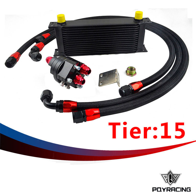 PQY RACING- UNIVERSAL 15 ROWS ENGINE OIL COOLER+ALUMINUM OIL FILTER/COOLER RELOCATION KIT+3X NYLON BRAIDED HOSE LINE+ADAPTER pqy store blue 15 row an 10an universal engine oil cooler kit aluminum hose end kit pqy5128