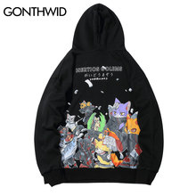 GONTHWID Funny Embroidered Japanese Cats Ninja Print Hooded