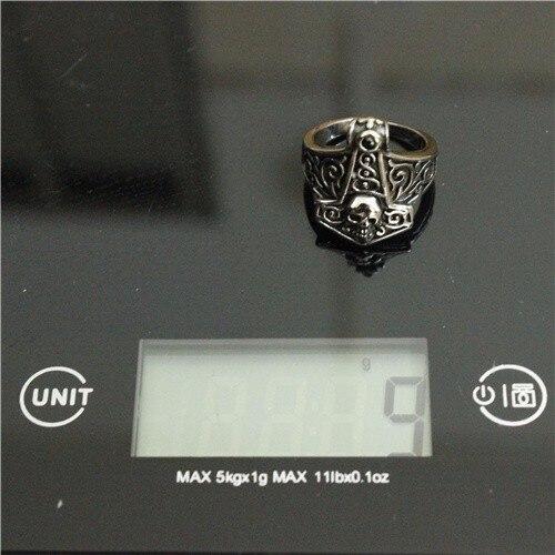 עיצוב מגניב אופנוען תור פטיש טבעת גולגולת עם שחור וברור אבן 316L פלדה אל חלד גברים בנים ליטוש אופנוען הטבעת