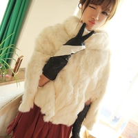 The real white rabbit fur coat winter cloak shawls lovely warm genuine free shipping J599038