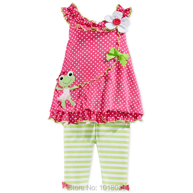 New 2017 Brand Quality 100% Cotton Baby Girls Clothing Sets Short Sleeve 2pc Children Clothing Summer Baby Girl Clothes Set Girl
