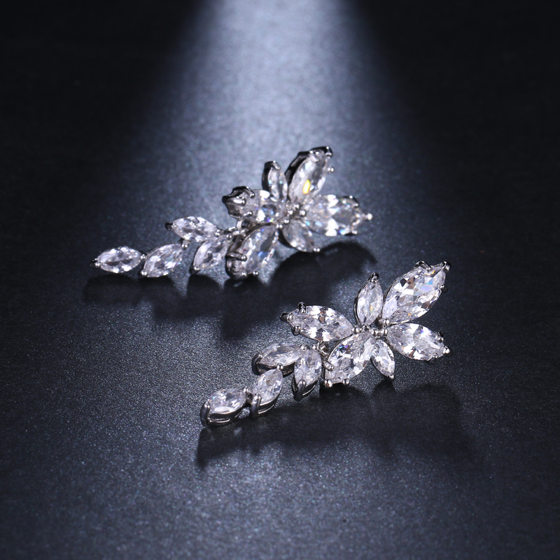 LXOEN Marquise Cut Flower Zirconia Crystal Long Drop Earrings for Women Shiny Leaf CZ Stone Bridal Wedding Jewelry 10