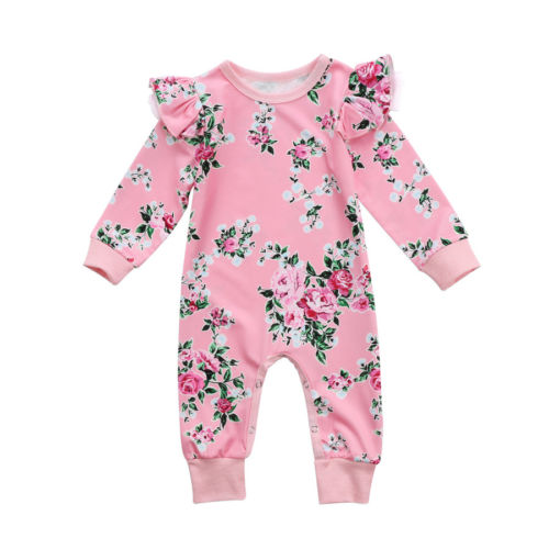 Cute Pink Kids Baby Girls Floral Romper Jumpsuit Long Sleeve Ruffles Flower Print Rompers Outfits Clothes Summer Spring