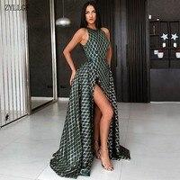 ZYLLGF Long Evening Dress 2019 Sexy Saudi Arabia High Slit Train Abendkleider Emerald Green Ladies Formal Gown MC115