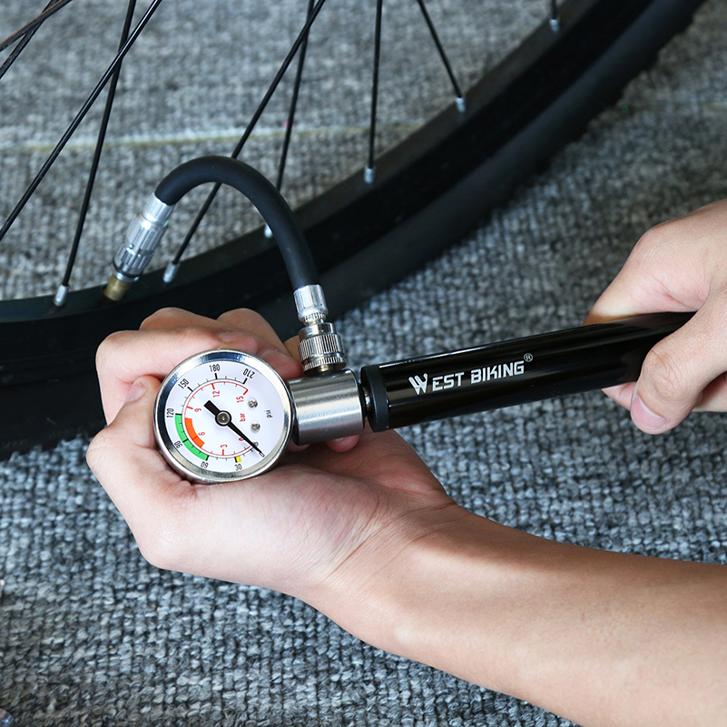 Portable Mini Bike Bicycle Tire Tyre Pump 120 PSI Gauge Road MTB Air Inflator
