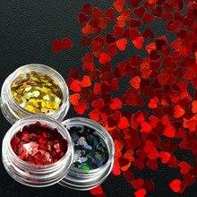 3 мм сладкая любовь сердце блеск для ногтей блестки золото/красный/черный сверкающие блестки дизайн ногтей Декор маникюрные советы CHLB200-1000-1