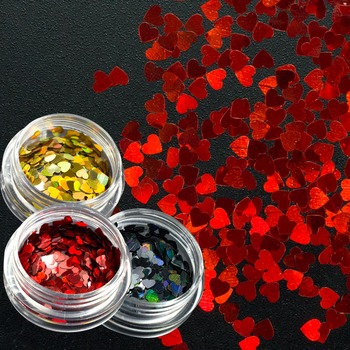 3mmSweet Love Heart Nail Glitter Sequins Gold/Red/Black Shinning Paillettes