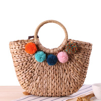 Summer Handmade Bag Women Bohemia Beach Forest Simple Scarves Weaving Ladies Straw Hairball Wrapped Moon Shaped