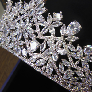 Image 3 - Свадебная Корона из фианита 3A, диадемы и короны из циркония, свадебные аксессуары для волос WIGO1327