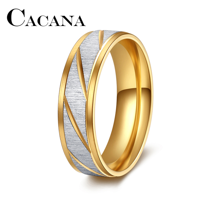 CACANA Silver Color Frosted Finger Ring for Woman Man Wedding Jewelry 316L Stain