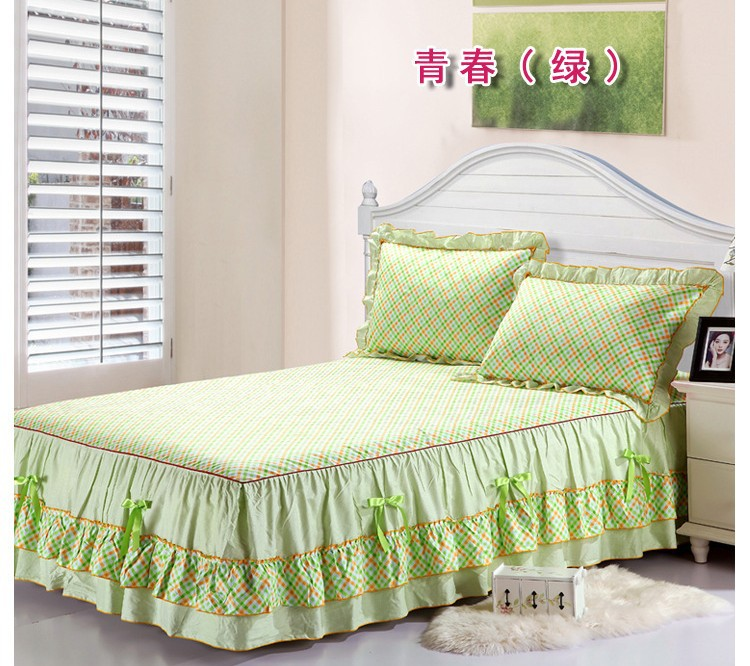 100 Cotton Lace Bow Bedskirt Youth Green Plaid Korean