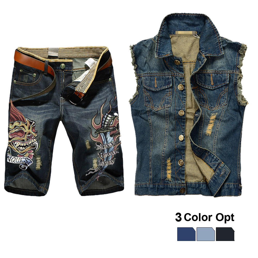 Men Jean Vest Jacket Set Retro Ripped Destroyed Skinny Hole Top Denim Short Pants 1/2 Trousers Summer Beach Wear Blue Dagge Fire