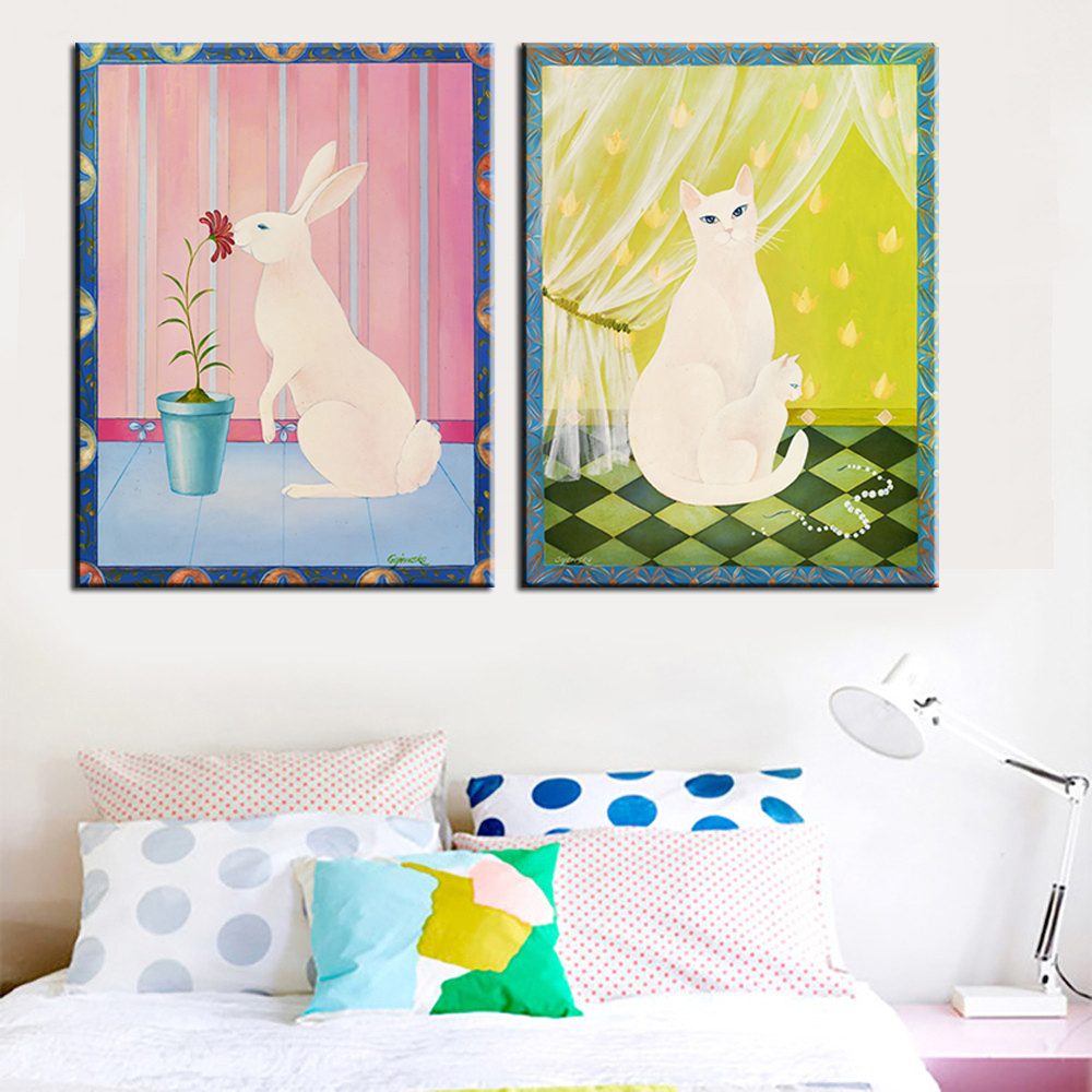 ٩(^‿^)۶Modern Canvas Painting No Frame Canvas Art Pictures Cartoon ...