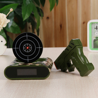 Electronic Desk Clock Alarm Clock Office Gadgets 1set Gun Alarm Clock / Shoot Alarm Clock / Gun O'clock / Lock N Load Target