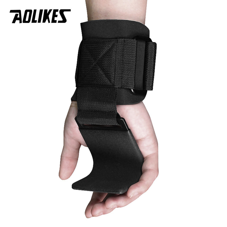 AOLIKES 1 Pair Fitness Weight Lifting Hook Training Gym Grips Straps Wrist Support Weights Power dumbbell hook weightlifting