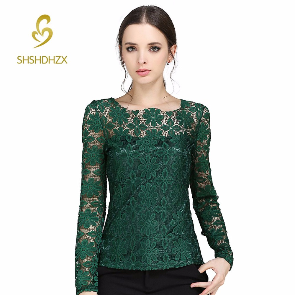 674ab342b37f Plus size Women long-sleeved Casual lace shirt New Korean Fashion Slim Women  lace tops Sexy Sheer blouses