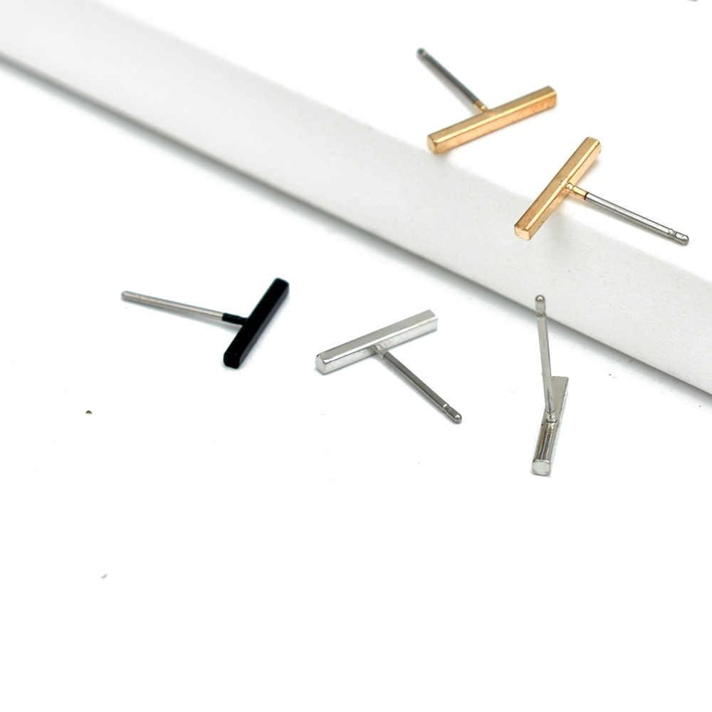 Bing Tu lindos pendientes pequeños oro/plata minimalista recto Vertical Bar Stud pendientes para mujer exquisita joyería brincos