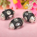 6pcs/lots Clay Vintage Metal Copper Alloy Indonesian Beads With Rhinestone Cylinder Shape For European Jewelry Carft Decoration