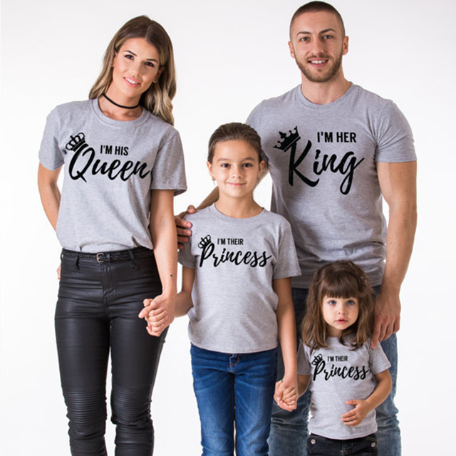 4e0ea4bb0d New Matching Family Clothing Gray Letter Short Sleeve T-Shirts Couples T-Shirts  King Queen Prince Princess T-Shirt Kids Clothes