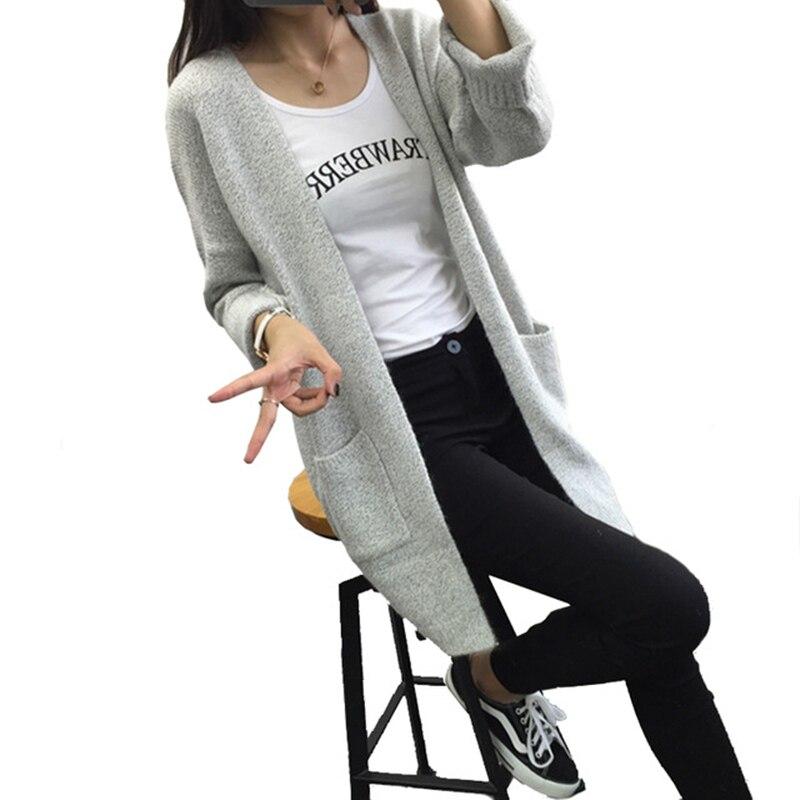 2016 font b Women b font Long Cardigan Sweater Autumn Ladies Korean Wild Pocket Loose Knitted