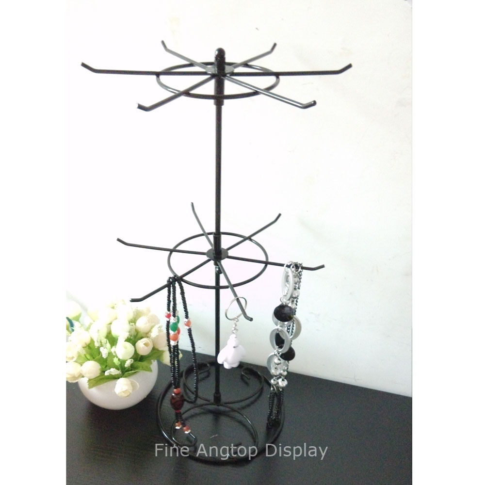 Favorite Black Wrought Iron Rotating Holder 2 Tier Revolving Stand Rack  CF39