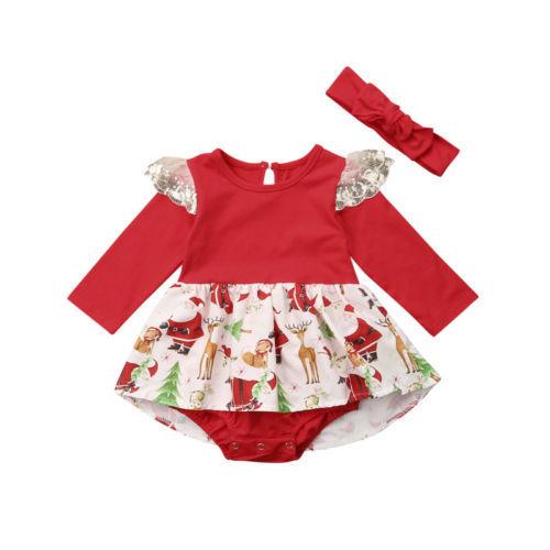 0cf8706e0 Newborn Baby Girl Clothing Christmas Romper Jumpsuit Long Sleeve ...