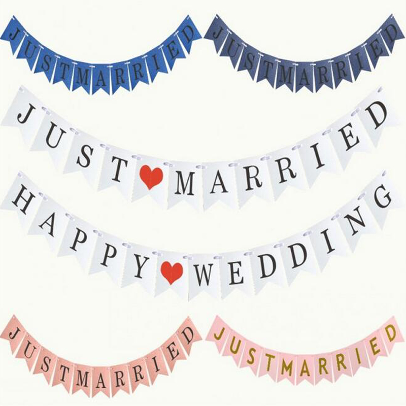 HOMEBEGIN Just Married Happy Birthday Bunting Banner Letter Hanging Garlands Pastel String Flags Baby Shower Party Wedding Decor