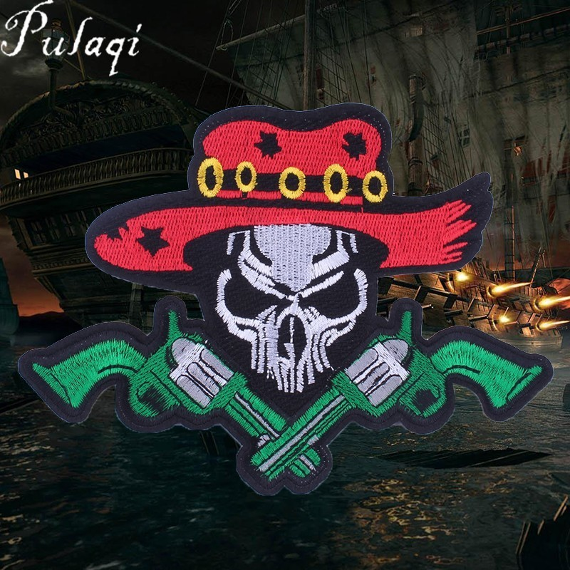 Pulaqi Punk Caribbean Pirates Embroidery Patches for Clothes Iron On Skull Biker Applique Fine Diy Jean Leather Coat Sticker D