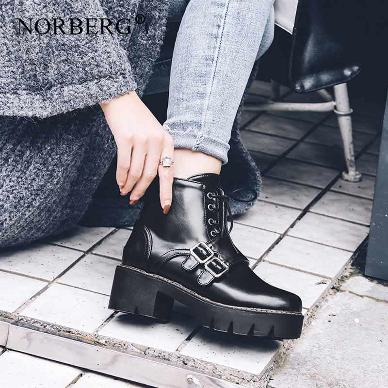 NORBERG/осенне-зимние женские ботинки на резиновой подошве ботинки martin с круглым носком обувь на шнуровке в британском стиле с ремешком и пряжкой