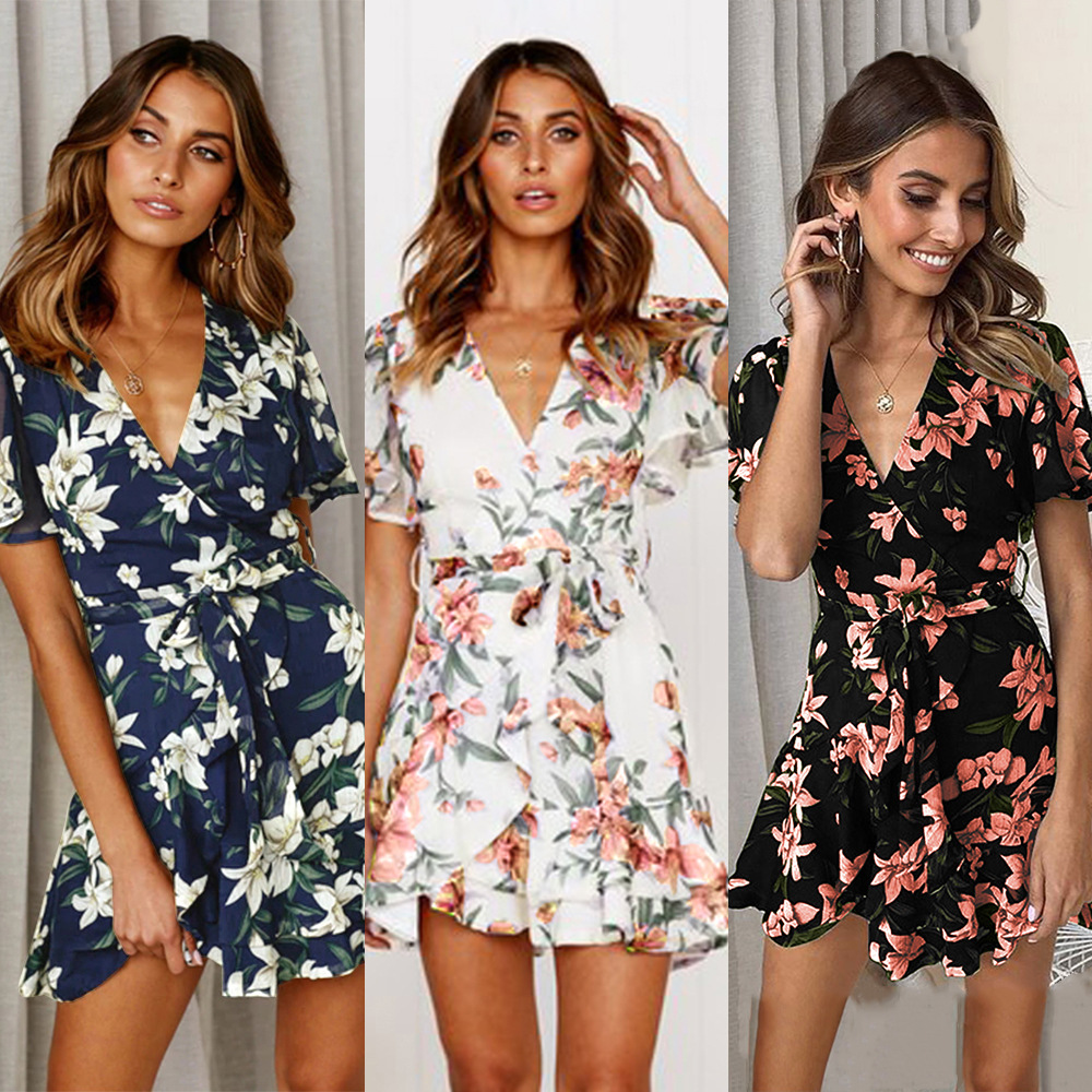 Women dress 2019 Summer dress Office lady One piece Printted Chiffon Maxi dresses for women Vestidos verano 2019 in Dresses from Women 39 s Clothing