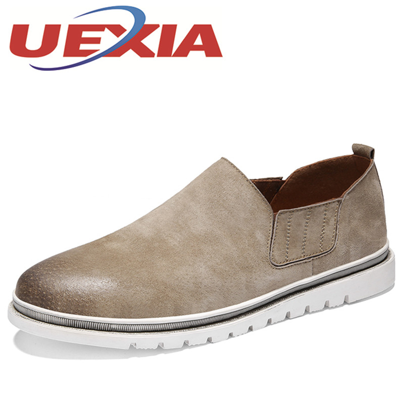 Spring New Leisure Leather Chelsea Shoes Mens Casual Breathable Slip On Shoes Outdoor Mens Black Flat Zapatos Hombres Size 39-44 2017 new spring imported leather men s shoes white eather shoes breathable sneaker fashion men casual shoes