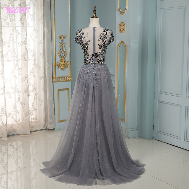 YQLNNE Couture Gray Rhinestones Evening Dress Long Embroidered Cap Sleeve Tulle Evening Gown 1