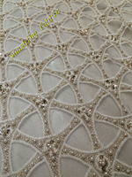 ZH120909 Gold big heavy bridal tulle lace African french net sewing fabric with lots of Beads stones high quality