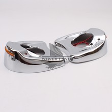 Motorcycle Bike Accessories Fairing Mount Mirrors Amber LED Lights Cover Caps For Harley Touring Electra Street Glide 1996-2013 цена
