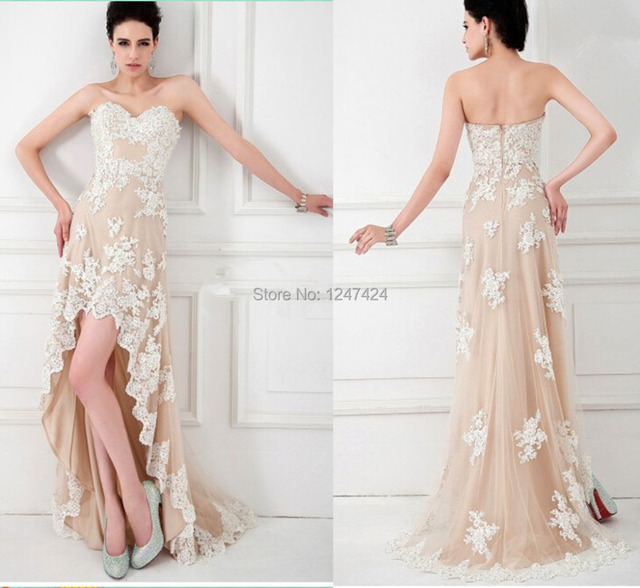 Hot 2014 new fashion lace applique prom dress Hi Lo prom party ...