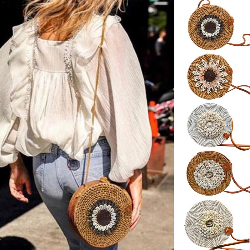 FGGS-Fashion Round Shoulder Bag Rattan Hand Woven Beach Straw Hand Bags Small Mini Shell Crossbody Messenger Bag For Women LadFGGS-Fashion Round Shoulder Bag Rattan Hand Woven Beach Straw Hand Bags Small Mini Shell Crossbody Messenger Bag For Women Lad