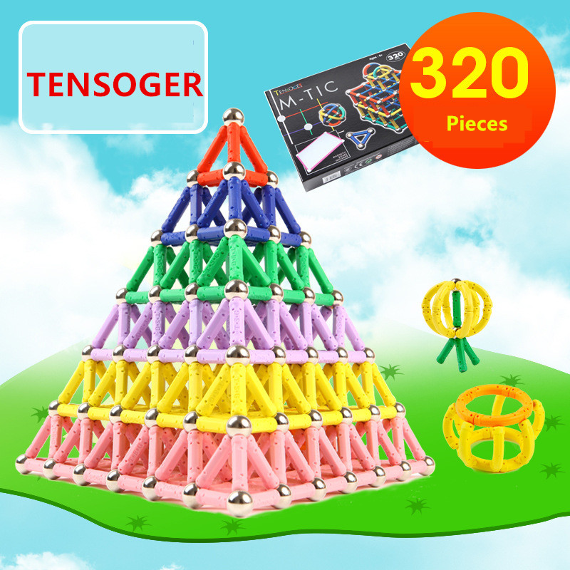 Tensoger 320 Pics Magnetic Stick Steel Ball Childrens Educational DIY Toys Magnet Building Blocks Magnetic Sticks IQ Develop