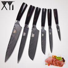 hot deal buy xyj handmade stainless steel knives chef slicing santoku utility paring damascus pattern kitchen cooking knives accessories tool