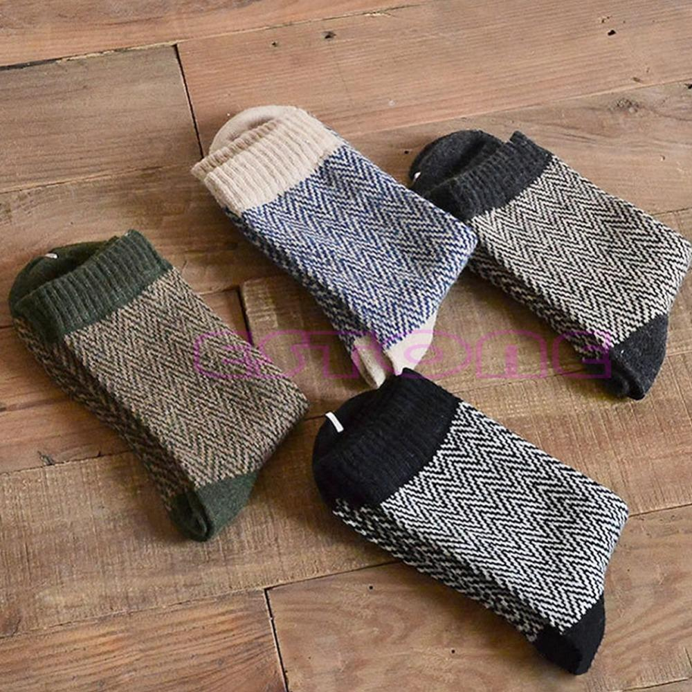 4 Pairs Men Warm Winter Thick Wool Mixture Angora Cashmere Casual Dress Socks-Y107