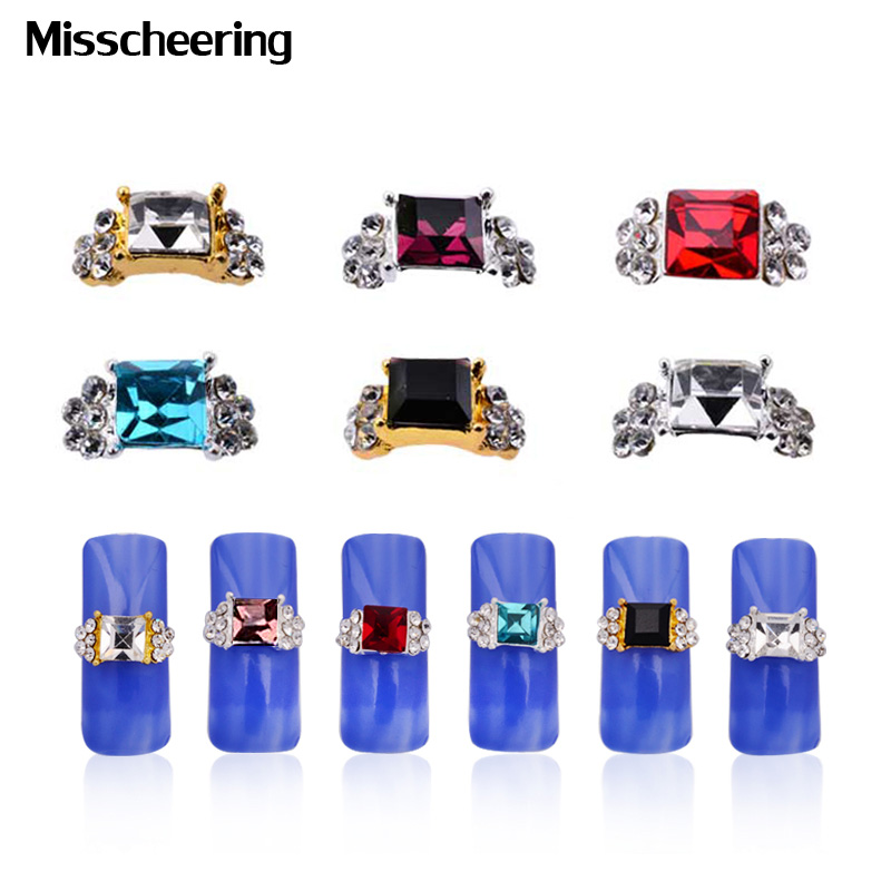 10pcs Sqaure Gems 3d Nail Art Decorations Glitter Crystal Rhinestones Gold Silver Alloy Charm Jewelry DIY Nail Beauty Tools 10pcs glitter crystal nail gem rhinestones alloy 3d nail art jewelry diy phone case decoration mns784