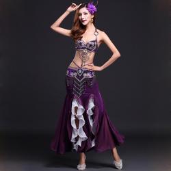 Выступление 7 цветов для женщин Oriental танцевальная одежда 3 шт. наряд браллет и юбка на поясе длинные бусины костюм танец живота Professional