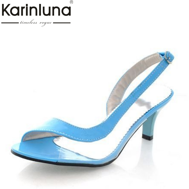KARINLUNA 2018 Small Big Size 30-46 Peep Toe Women Sandals Sexy Med Heels Rome Style Buckle Strap Woman Shoes Candy Colors